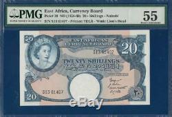 Afrique De L'est Britannique 20 Shillings P39 Pmg 55 Abt. Unc Conseil Est Monnaie Africaine