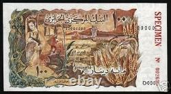 Algérie 100 Dinars P-128 1970 Spécimen France Deer Unc Rare Currency Bank Note