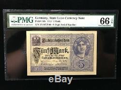 Allemagne 1917 5 Mark Etat Prêt Monnaie Banknote Pmg Gem Unc. 66 Epq (980)