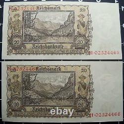 Allemagne-20 Reichsmark Billets-unc/cours N°s-1939-german Swastika-3rd Reich