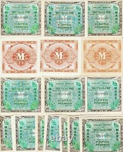 Allemagne-(33)-lot, 1/2 Mark Allied Military Currency1944 Unc-chau Cond, P#191-a