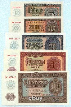 Allemagne Republique Democratique 5-100 D. Mark 1955 P17x-21x Unc Monnaie Militaire