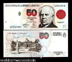 Argentine 50 Pesos P344b 1995 Sarmiento Unc Buenos Aires Latino Monnaie Remarque