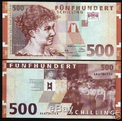 Autriche 500 Schillings P154 1997 Euro Rosa Mayreder Unc Rare Money Note