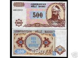 Azerbaïdjan 500 Manat P19 1993 Bundle Unc Monnaie Papermoney Projet De Loi 50 Banknote
