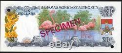 Bahamas 10 Dollars P30s 1968 Échantillon De Reine Unc Monnaie Monnaie Banque Note
