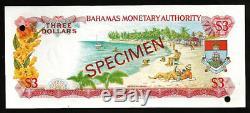 Bahamas Trois Dollars P28s 1968 Reine Specimen Unc Monnaie Monnaie Banque Note