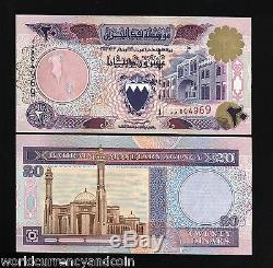 Bahreïn 20 Dunars P16 1993 Bateau Unc Véritable Rare Monnaie Argent Bill Billets De Banque