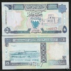 Bahreïn 5 Dinars P14 1993 Carte Bateau Gulf Air Avion Unc Monnaie Argent Bill Note