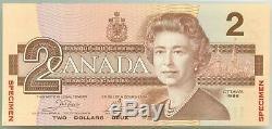 Banque Du Canada 2 $ Multicolor Spécimen Monnaie Banknote Gem Crisp Unc
