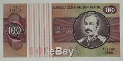 Banque Étrangère Papier Note Argent Monnaie Brésil 100 Cruzeiros 100 Note Paquet Unc