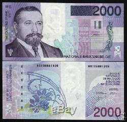 Belgique 2000 Francs P151 1994 Euro Flora Art Unc Monnaie Rare Argent Bill Note