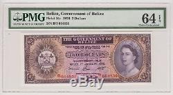 Belize 2 Dollar 1976 P34c 2 $ Pmg Gem Unc 64 Epq Reine Elizabeth Monnaie Rare