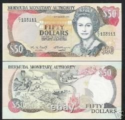 Bermuda 50 Dollars P44 1995 Queen-queen Map Scuba Diver Turtle Unc Monnaie Money Note