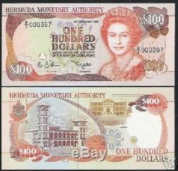 Bermudes 100 Dollars P39 1989 Assemblée De La Reine Des Papillons Unc Monnaie Note