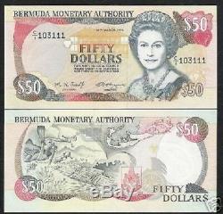 Bermudes 50 Dollars P44 1995 Reine Carte Scuba Diver Tortue Unc Monnaie Argent Remarque