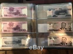 Billet De Banque En Monnaie Coréenne Ensemble Complet Moderne Unc Rare