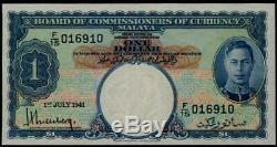 Billet De Change Du Conseil Des Commissaires De Malaisie - 1 Eur 1941 Kgvi