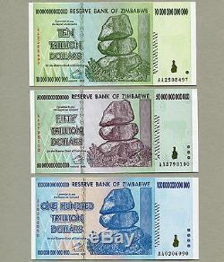 Billets De Banque Du Zimbabwe 100 50 10 Milliards De Dollars En Billets De Banque Aa 2008 Unc