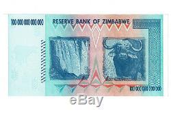 Billets De Banque Du Zimbabwe De 100 Trillions De Dollars Aa 2008 P91 Facture Libellée En Dollars Us Pour L'inflation