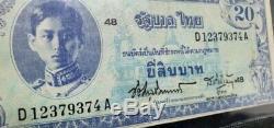 Billets Thaïlande Mémorial Roi Rama VIII Siam Précieux Monnaie Rare Et Précieux