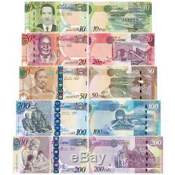 Botswana 5 Pcs Billets Billets 10,20,50,100,200 Pula Bwp Monnaie Réel Unc