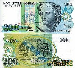 Brésil 200 Cruzeiros Banknote World Paper Money Currency P229 Bundle (100 Billets)
