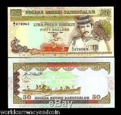 Brunei 50 Ringgit P16 1994 Bateau Sultan Unc Monnaie Argent Bill Asia Bank Note