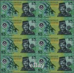 Brunéi 5 Ringgit P23 2002 Polymer Unc Uncut Feuille De 8 Billets De Banque Monnaie