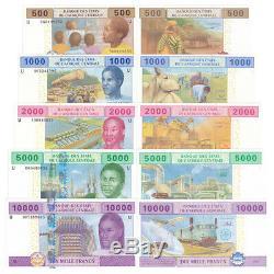 Cameroun Centrafricaine 5 Pcs Billets 500-10000 Frances Réel Monnaie Unc