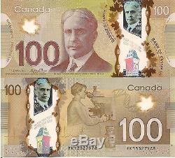 Canada 100 Dollars Billet Monnaie Mondiale Unc Devise Bill Choisissez P110b Polymère