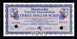 Canada 1988 Devise Locale Manitoulin 3 Dollar Scrip Specimen Unc