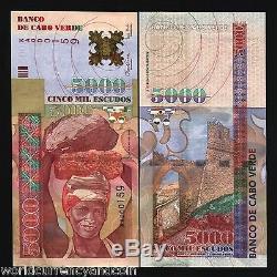 Cap-vert 5000 5000 2000 Escudos P67 Millennium Pierre Unc Argent Monnaie Remarque