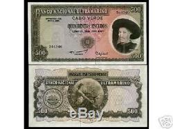 Cap-vert 500 Escudos P53a 1971 Navire Unc Rare Monnaie Argent Bill Billets De Banque