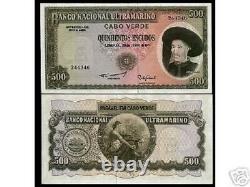 Cap-vert 500 Escudos P-53 A 1971 Ship Unc Rare Currency Money Bill Bank Note De Banque