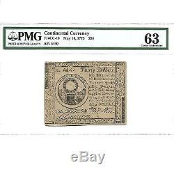 Cc-10 Continental Monnaie $ 30 10 Mai 1775 Pmg 63 Unc Livraison Gratuite