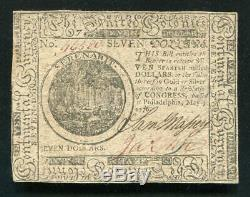 Cc-37 Le 9 Mai 1776 7 $ Seven Dollars Continental Monnaie Remarque À Propos Unc