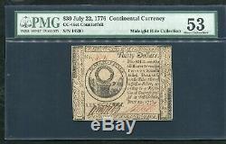Cc-46ct 22 Juillet 1776 $ 30 Continental Monnaie Contrefaite Pmg A Propos Unc-53