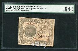 Cc-80 26 Septembre, 1778 $ 7 Seven Dollars Continental Monnaie Pmg Unc-64epq