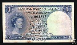 Ceylan 1 Roupie P49 1954 Lion Reine Unc Rare Sri Lanka Monnaie Money Bank Note