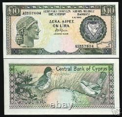 Chypre 10 Livres P55 1995 Euro Paruline Unc Rare Date Monnaie Argent Bill Note