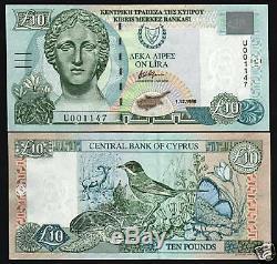 Chypre 10 Livres P62 1.12.1998 Euro Tortue Papillon Unc Monnaie Argent Banknote