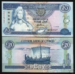 Chypre 20 Livres P56 1993 Buste Euro Art Bateau Unc Rare Monnaie Money Bank Note