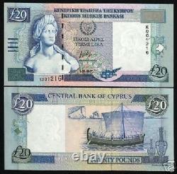 Chypre 20 Livres P-63 C 2004 Euro Art Boat Unc Eu Ec Rare Bank Note Devise