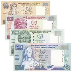 Chypre 4 Pcs Billets Billets Collect 1,5,10,20 Livre Réel Monnaie Unc