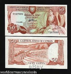 Chypre 50 Cents P52 1989 Dam Euro Unc Monnaie Argent Bill Billets De Banque Lot 10 Pcs