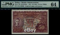 Commission De La Malaisie Commissaires En Devises Kgvi 50 ¢ Pmg 64 Choix Unc # P10 B-d 1941