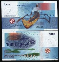Comores 1000 1000 Francs P16 2005 X 10 Pcs Lot Boat Fish Currency Unc Bank Note