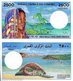 Comores Billets De Banque 2500 Francs Monnaie Mondiale Unc Devise Bpl P13