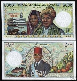 Comores France 5000 Francs P12b 1984 Bateau Fruit Poisson Unc Monnaie Argent Billnote